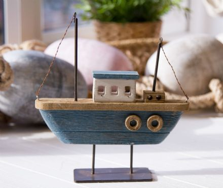 Blue Twin Mast Rustic Wooden Boat Nautical Decoration